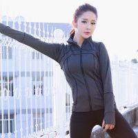 供应2017新款 女式健身运动上衣长袖跑步健身外套瑜珈外套拉链开衫