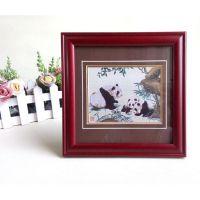 定制礼品相框 红木色 批发创意实木相框 刺绣织锦装裱画框
