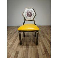 卡航家具金属椅子厂家直销 铁艺复古做旧椅欧式主题餐椅酒店椅美式餐椅美甲椅