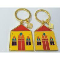 厂家专业定做金属钥匙扣新款房子烤漆钥匙链订做箱包吊坠挂件定制质量好