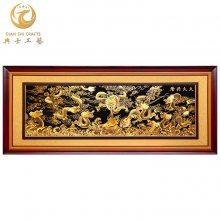 沁园春·长城壁画,会议厅装饰画,机关单位铜彩色画框,铜版画批发厂家