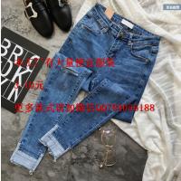 广州便宜韩版新款弹力修身小脚裤女式牛仔裤卷边女裤潮 棉 5元