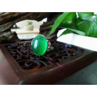 麟洛玉 绿玉925银戒指 玉髓材质 镶嵌工艺 全手工打造 支持定制