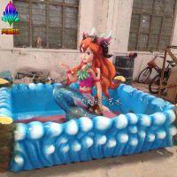游乐园设备设施 玻璃钢材质抓鱼池雕塑摆件 广州玻璃钢厂家尚雕坊