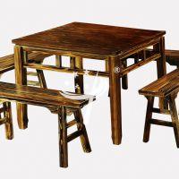碳化防腐实木餐厅饭店餐桌椅 农家乐户外桌椅全实木古典中式八仙桌长桌椅