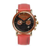 BEDATE品牌新款男表真皮表带时尚防水石英木制手表定制