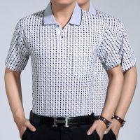 商务男装夏季新品短袖T恤男士T恤翻领中年t恤男式中老年休闲批发