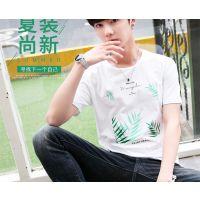 供应淄博大量便宜时尚韩版男士T恤批发靓仔男装短袖纯棉小衫批发低至3元一件