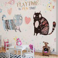 儿童房墙纸批发可爱卡通小猫背景墙壁纸儿童环保墙纸墙布生产厂家