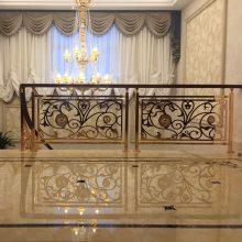 豪华铜艺别墅雕花楼梯护栏 马云家装的就是这款镀金铜楼梯栏杆