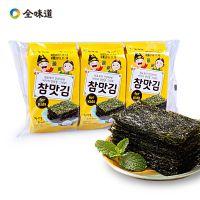 韩国休闲食品全味道原味袋装海苔15g(5g*3包)*36包/箱 寿司海苔