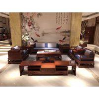 中山市名琢世家酒店刺猬紫檀红木沙发六件套