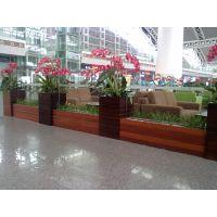 供应防腐木HUX021花箱组合 户外碳化木塑木花槽 庭院花架 花池 花车