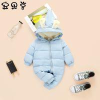 九阙冬季婴儿连体衣 加厚儿童棉衣 兔耳朵男女宝宝爬爬服一件代发