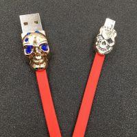 创意镶钻锌合金数据线 全新TPE拉丝纹适用于安卓手机micro usb骷髅头数据线