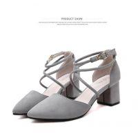 凉鞋女尖头韩版中跟粗跟纯色女鞋潮流百搭时尚女鞋 桠顺鞋业