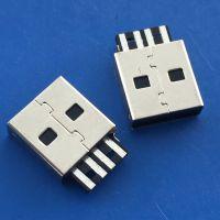 USB 2.0 A公直边带接地脚 黑色胶芯 焊线式带麻点 4P180度直角插板DIP