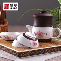 赫窑 高档功夫骨瓷茶具套装一壶三杯带茶盘旅行泡茶器礼品定制logo