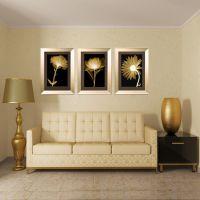 玄关餐厅装饰画 客厅现代三联有框画 沙发背景挂画墙画壁画 风景画 金色年华