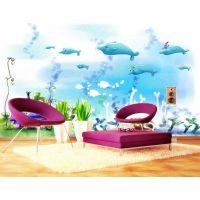 大型无缝3d壁画厂家儿童房卧室墙纸男孩女孩个性定制壁纸壁画海洋