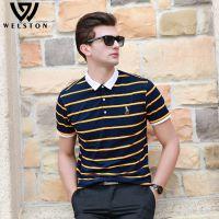 夏季新款男欧美条纹T恤衫 男式短袖翻领体恤衫宽松上衣男装