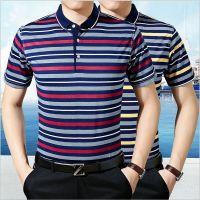 中老年男装短袖t恤2019夏季翻领套头polo衫爸爸装条纹男士棉体恤