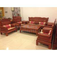 实木沙发加工厂-客厅实木沙发价格-中式红木六件套沙发-仿古老榆木沙发