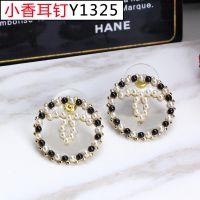 韩版时尚圆形镶珍珠CC耳钉 小香高端精品耳钉饰品
