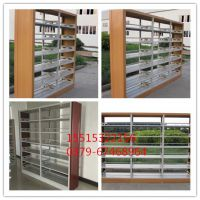 信阳钢制喷塑图书馆单面双面书架批发 汇金木护板六层书架定制