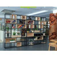 麦德嘉MDJ-SJ08定做金属屏风置物铁艺书架餐厅办公室松木隔断小木柜花架