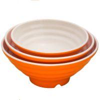 厂家批量直销密胺美耐皿橘白双色味千碗拉面碗螺纹碗牛肉面碗汤碗