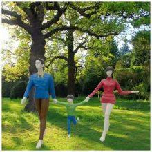 玻璃钢抽象亲情亲子人物雕像菱形切面一家三口牵手造型雕像树脂计划生育摆件