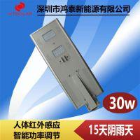 江苏太阳能路灯厂家 6米30W太阳能投光灯鸿泰供应
