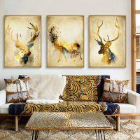 欧式客厅装饰画沙发背景墙画餐厅挂画欧式玄关画抽象发财鹿三组合