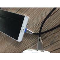 厂家直销led数据线 type-c安卓手机充电线 创意锌合金发光数据线