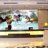 高清山水酒店大堂招财风水无缝壁画大展宏图马到成功3D背景墙壁纸