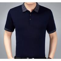 阿里巴巴服装批发桑蚕丝男式短袖T恤夏季翻领条纹半袖体恤中老年商务男装爸爸装