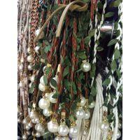 珍珠吊坠手编麻花辫绿叶绳带服饰箱包配饰