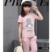 河南童装批发哪便宜又好看能货到付款的童装批发2018新款韩版儿童百搭短袖T恤套装连衣裙批发