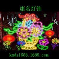 供应LED新年广场彩灯花篮造型灯 春节花灯 节日造型灯专业生产厂