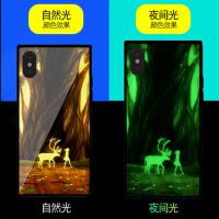 可定制 打印图案 夜光玻璃手机壳 iPhone X/8p/6s通用蓝光OPPOR11保护套