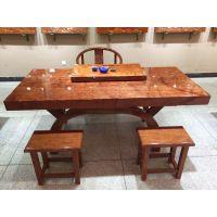 有家木业 巴花大板实木大班台办公家具原木书茶桌简约老板桌会议桌