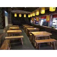 济宁定做老榆木饭店餐桌椅实木餐桌椅的厂家