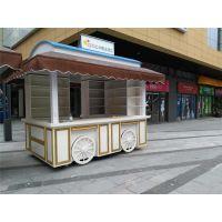 供应多功能户外美食手推车商场售货亭公园售卖亭实木售货车移动餐车