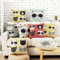 欧式酷猫创意可爱卡通加厚棉麻抱枕 汽车腰枕沙发靠垫抱枕定制