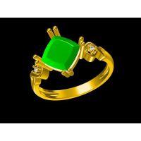 粉晶订婚戒指定制 多号可选泰金首饰来图来样代工厂—镶钻首饰加工玛瑙18K真金饰品