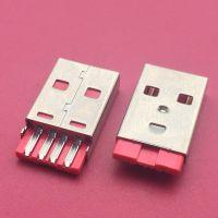 USB AM短体A公/L=20.5mm/焊线式公头/橙胶/彩色胶芯/4PIN/无接地