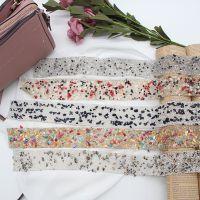 天然碎石热熔烫条 流行米珠水钻背胶长条 时尚女款腰饰包包辅料