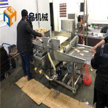 荆州藕条挂浆粉机 全自动藕条裹浆油炸机生产线