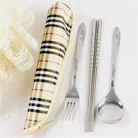 揭阳恒忠批发不锈钢旅行餐具 不锈钢筷子勺子叉子 环保餐具便携帆布三件套